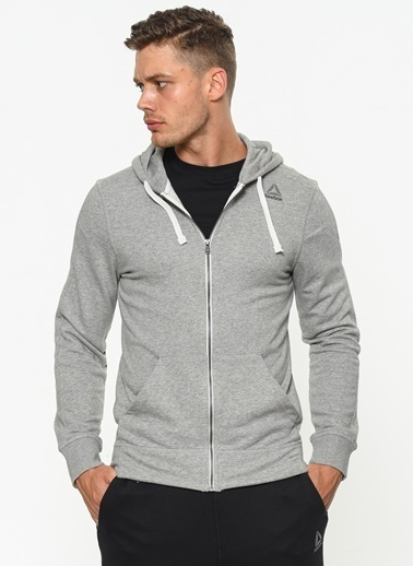 Reebok Kapüşonlu Fermuarlı  Sweatshirt Gri